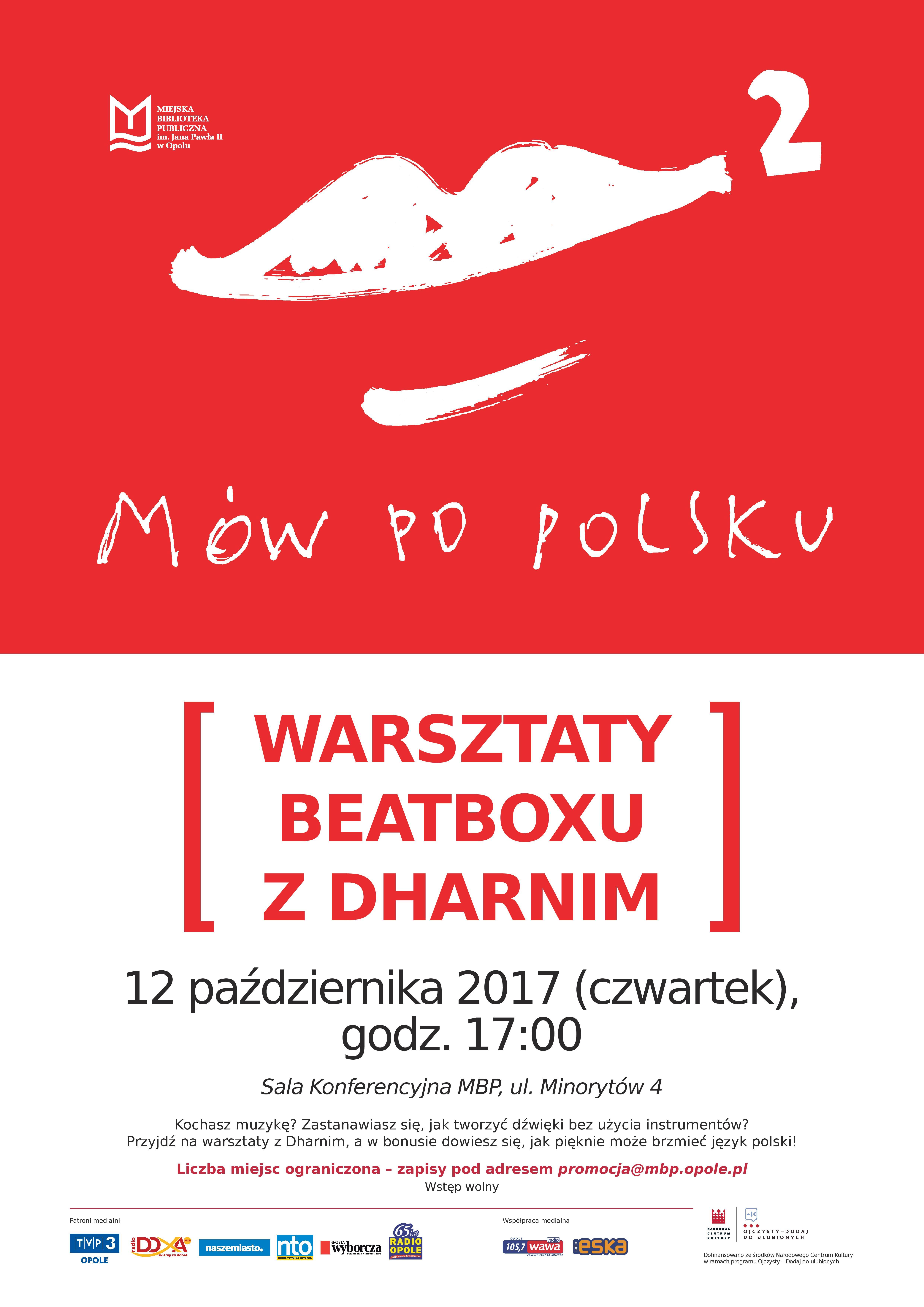 """Warsztaty beatboxu z Dharnim w ramach projektu """"Mów po polsku 2!"""""""