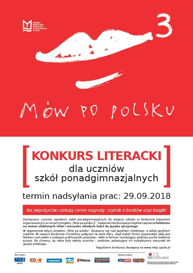 Mów po polsku 3 – konkurs literacki dla uczniów szkół ponadgimnazjalnych
