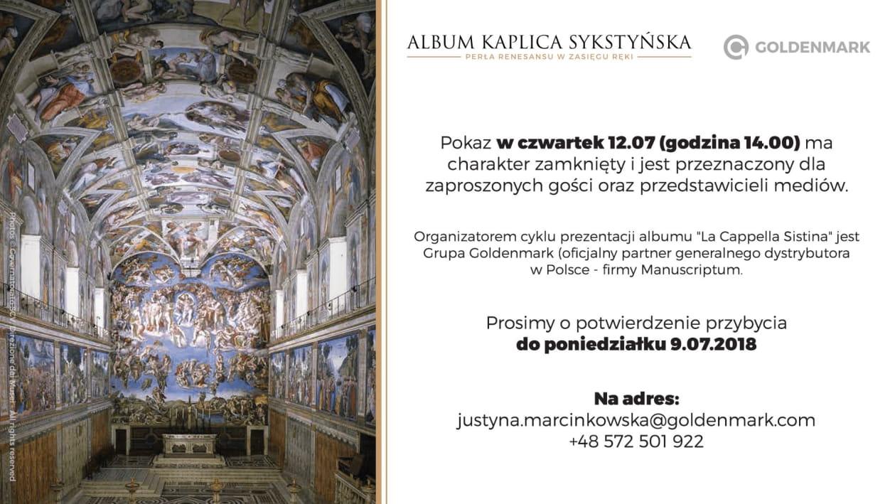 Dzieła z Kaplicy Sykstyńskiej – wykład i pokaz albumu