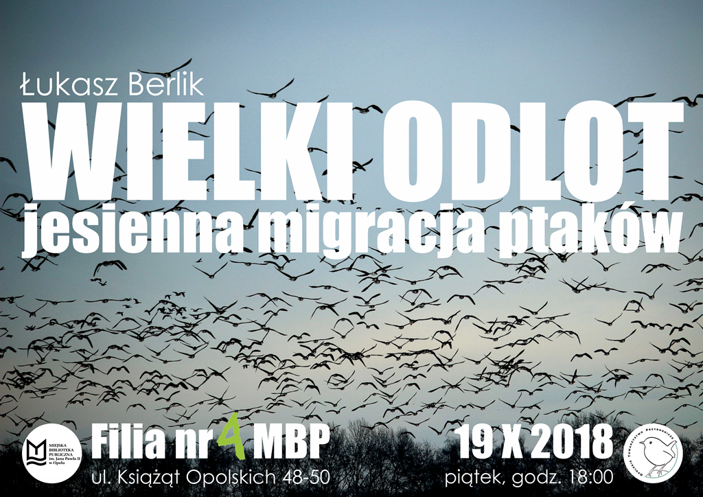 """""""Wielki odlot – jesienna migracja ptaków"""" – spotkanie przyrodnicze z Łukaszem Berlikiem"""