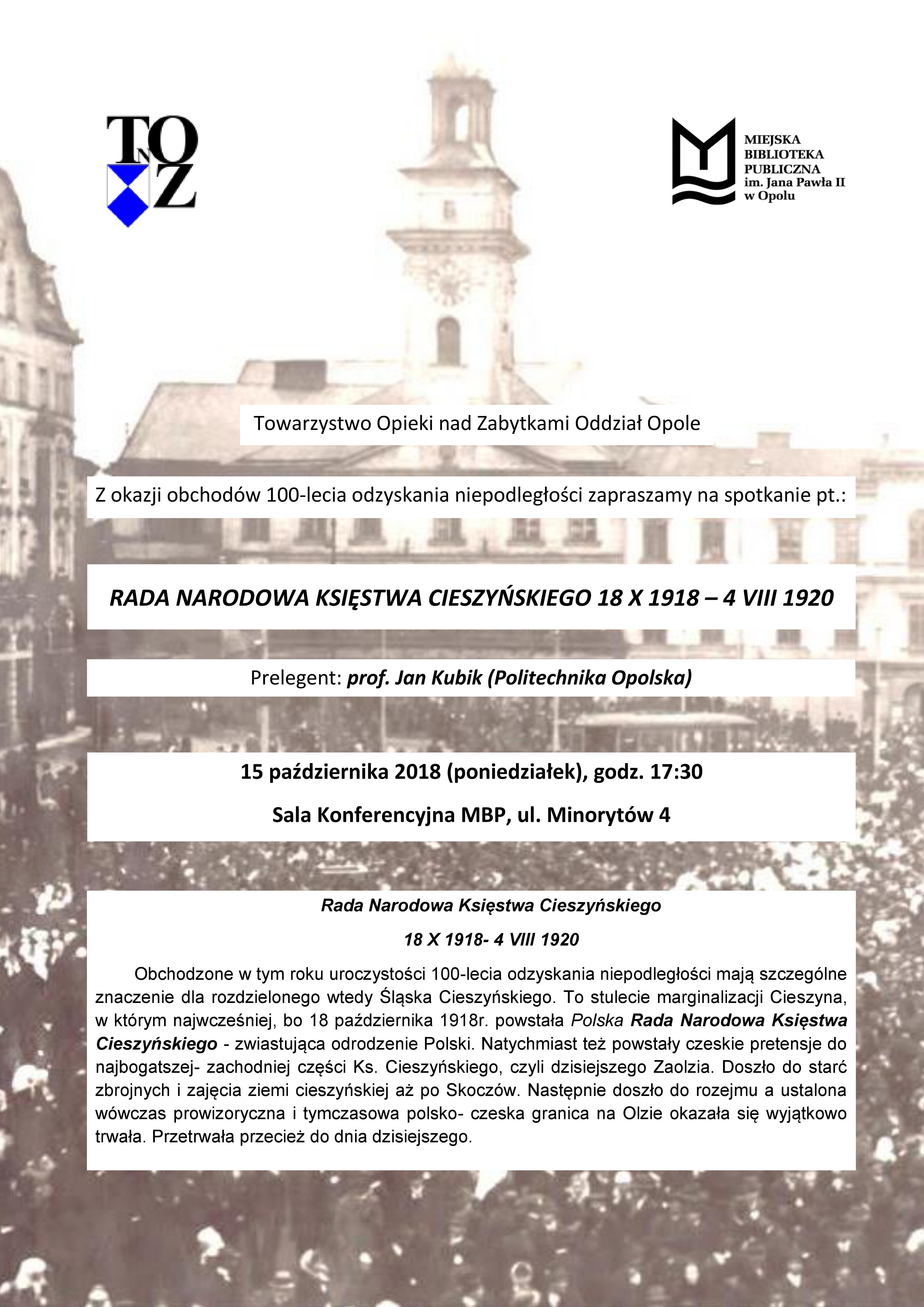 Rada Narodowa Księstwa Cieszyńskiego 18 X 1918- 4 VIII 1920