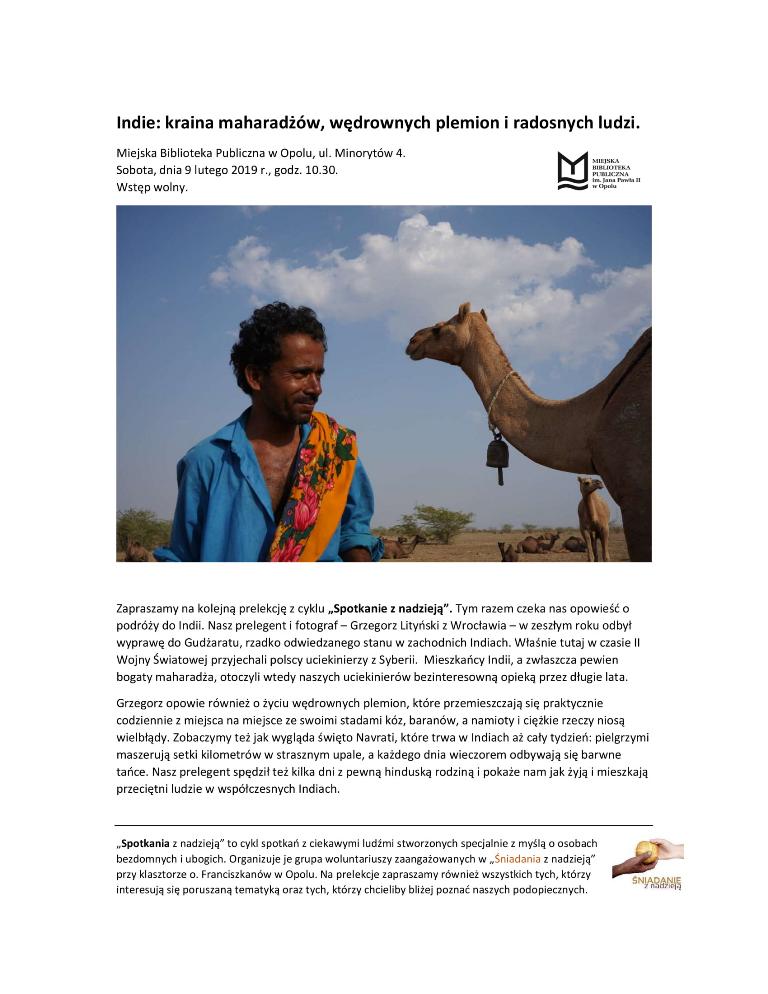 ŚNIADANIE Z NADZIEJĄ / Indie: kraina maharadżów, wędrownych plemion i radosnych ludzi