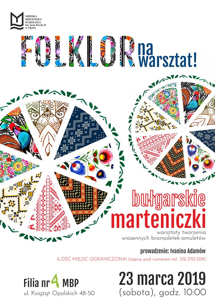 """""""Folklor na warsztat: bułgarskie marteniczki"""" – warsztaty tworzenia wiosennych bransoletek-amuletów"""