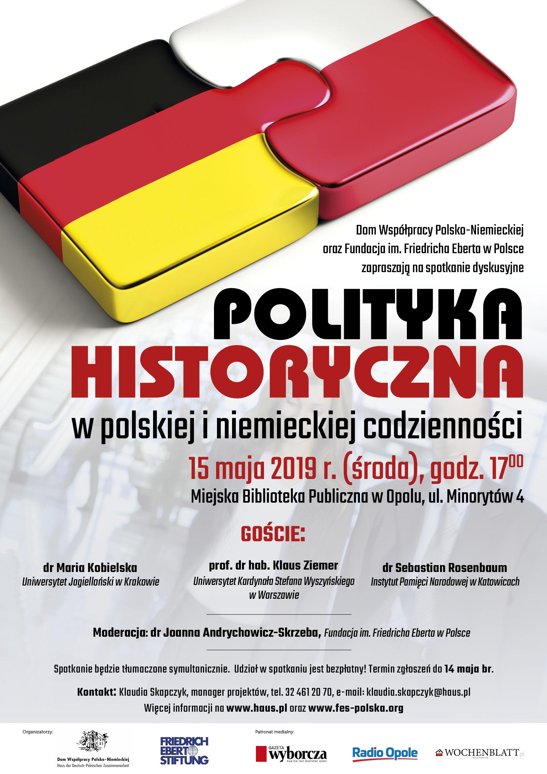 """Spotkanie dyskusyjne: """"Polityka historyczna w polskiej i niemieckiej codzienności"""""""