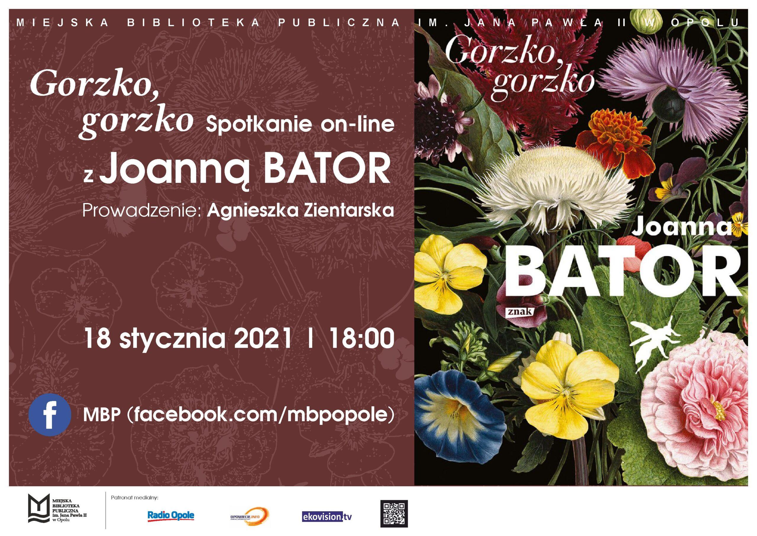 Gorzko, gorzko – spotkanie online z Joanną Bator