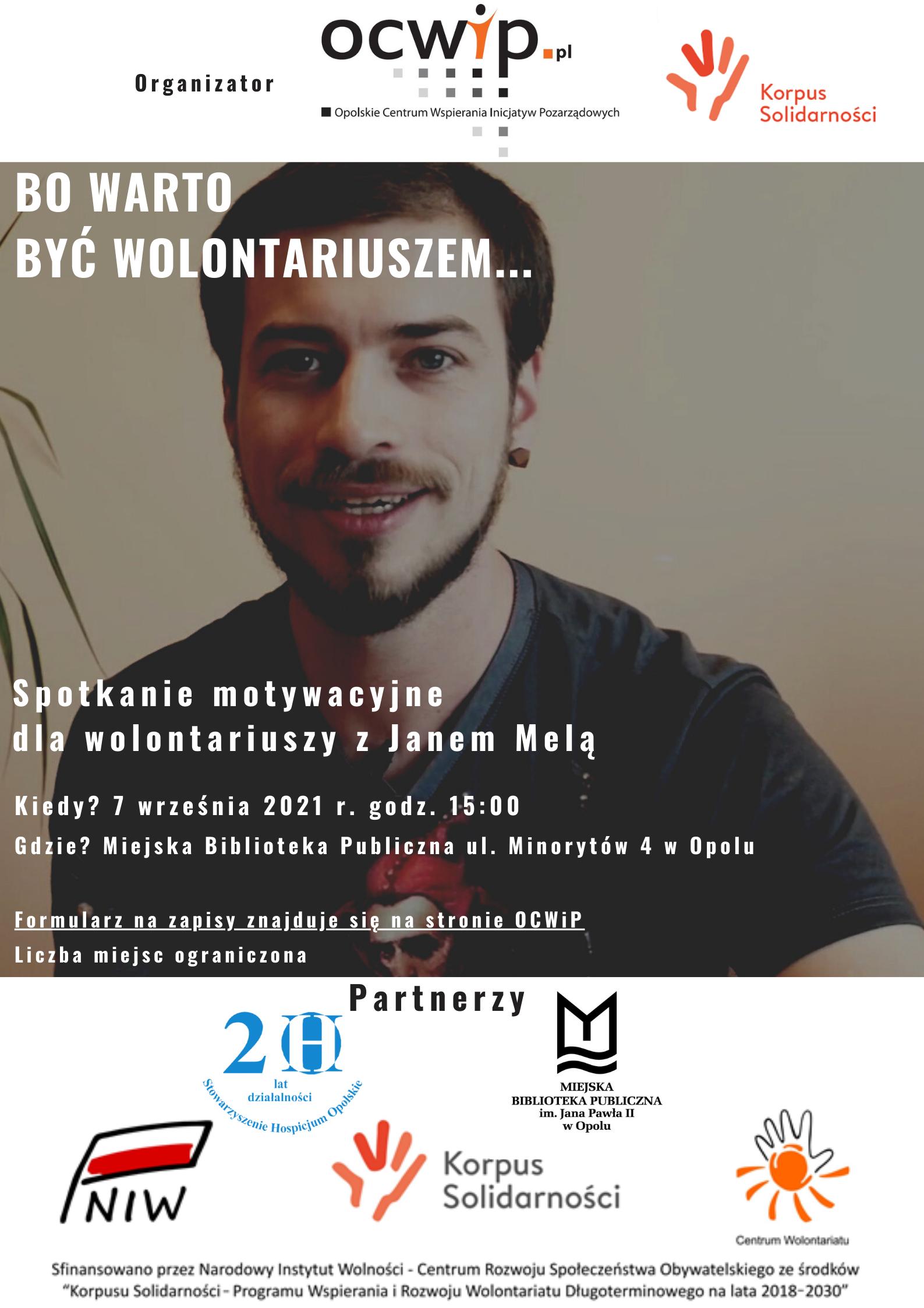 Spotkanie dla wolontariuszy i wolontariuszek z Janem Melą